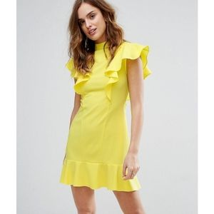 Yellow dress with peplum hem